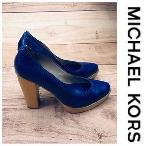 💕SALE💕 Michael Kors Royal Blue Wooden Platforms